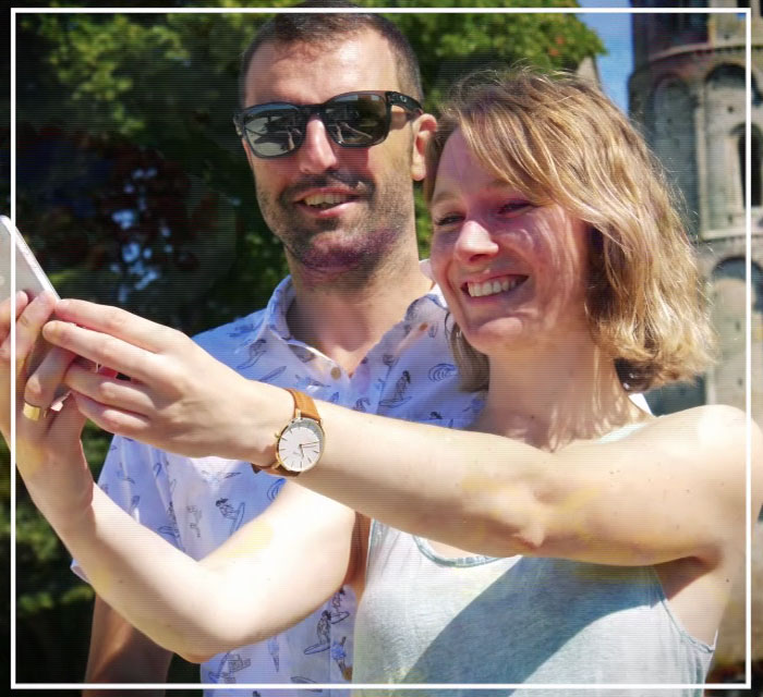 Séance photos au pied de la Tour Fenestrelle